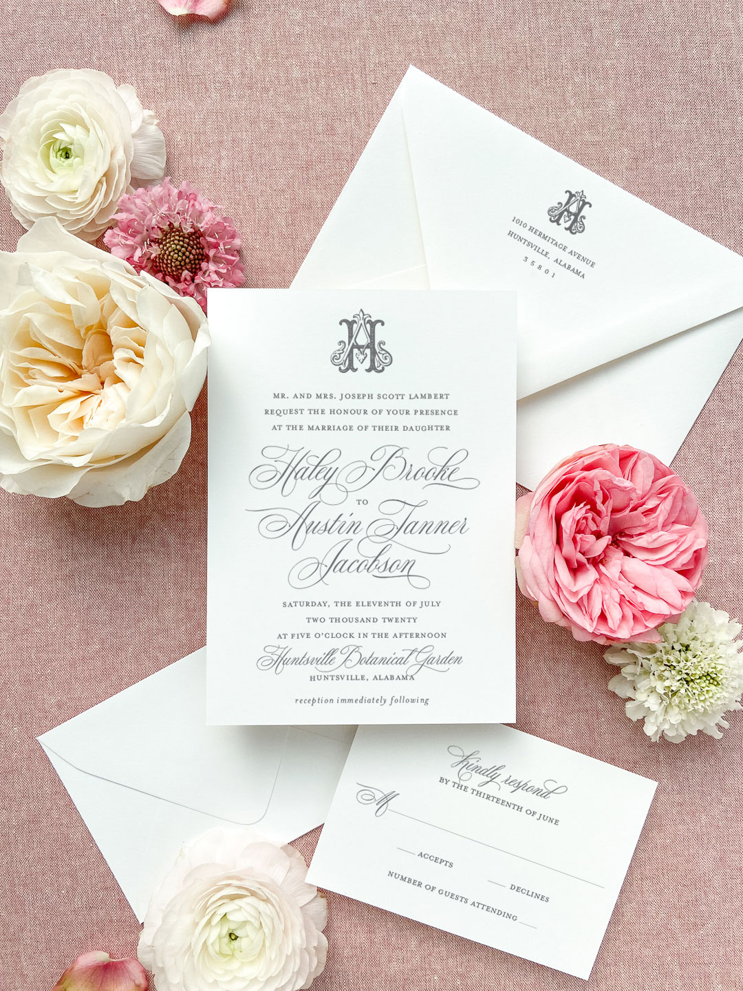 Hand drawn vintage wedding monogram from the wedding collection. Traditional script wedding invitation. The wedding collection is made up of a traditional layout and artful elements to tailor your wedding invitation to your style. Available in digital printing, letterpress, and foil stamping. Semi-custom wedding invitations by Little Fox Paperie.