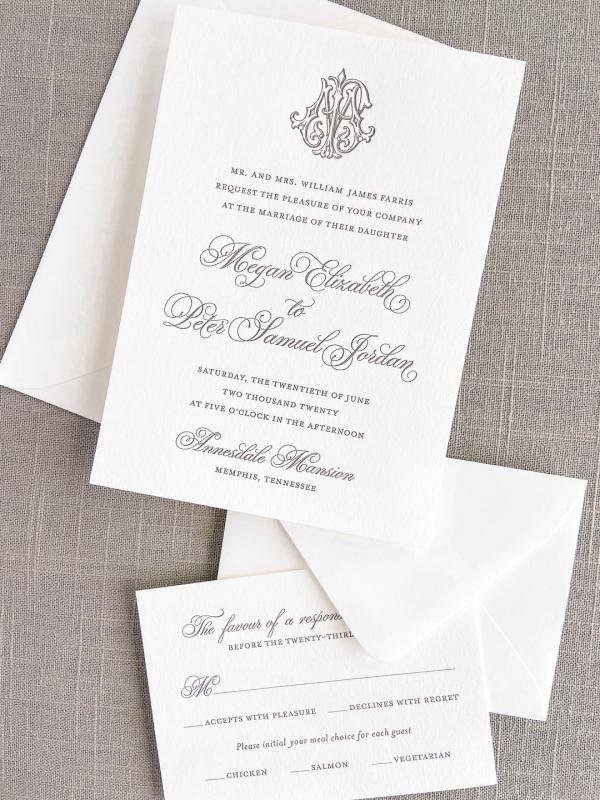 Wedding invitation printed in letterpress with slate ink on ivory paper. Includes a vintage interlocking monogram. Letterpress response RSVP card.