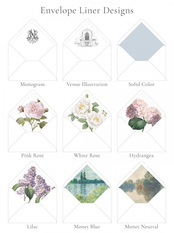 Envelope liner designs - monogram, venue illustration, solid color, pink rose, white rose, hydrangea, lilac, monet blue painting, and monet neutral painting