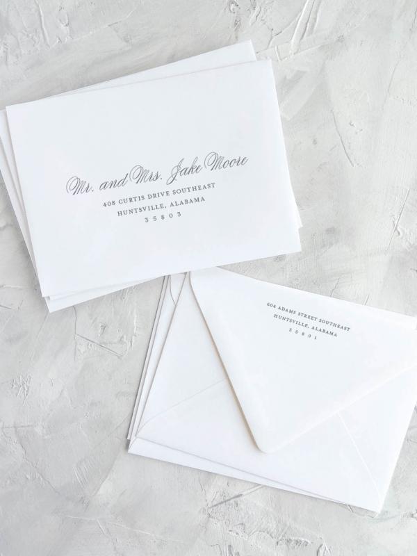 Envelope printing, guest addressing and return address printing.