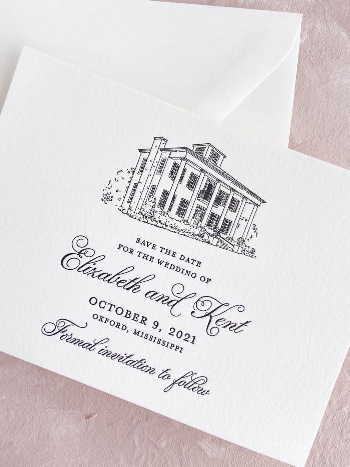 Wedding save the date in black ink letterpress on ivory paper. Custom letterpress venue illustration. Oxford, Mississippi wedding.