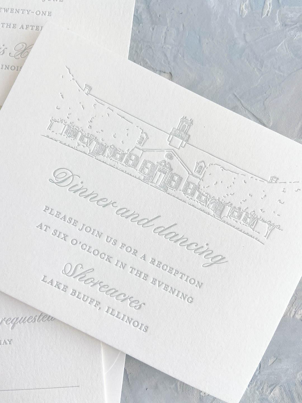 Cloud light blue letterpress wedding invitation detail card. Reception card featuring letterpress venue illustration on ivory paper. Shoreacres in Lake Bluff, Illinois wedding reception.