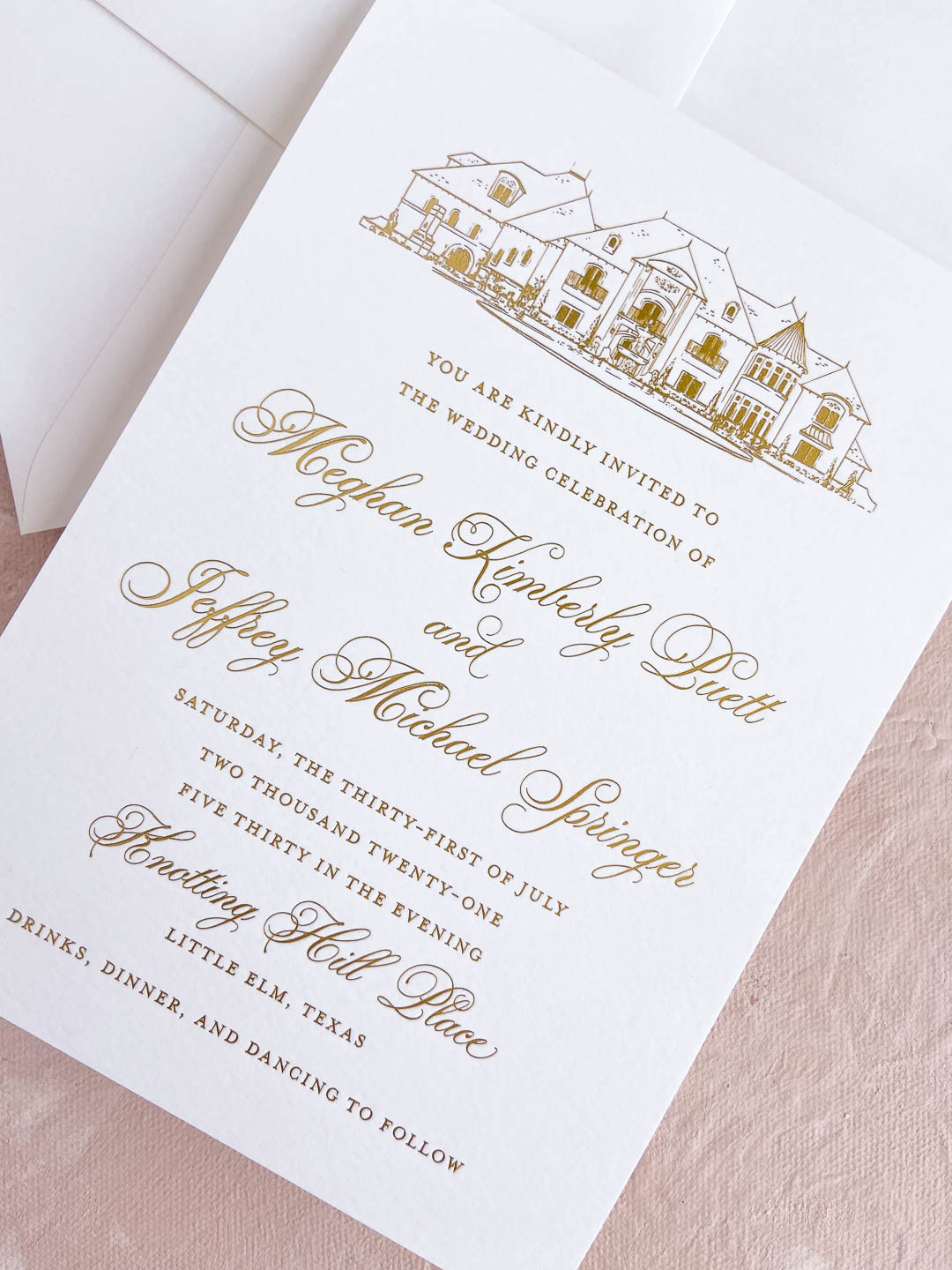 Gold foil stamping wedding invitation with custom gold foil venue illustration. Knotting Hill Place in Little Elm, Texas wedding.