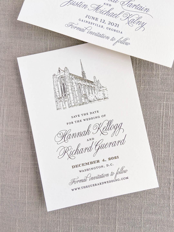 Save the date in black ink on ivory paper with custom venue illustration. Cathedral church venue illustration. Washington, D.C. wedding. Portrait orientation design.