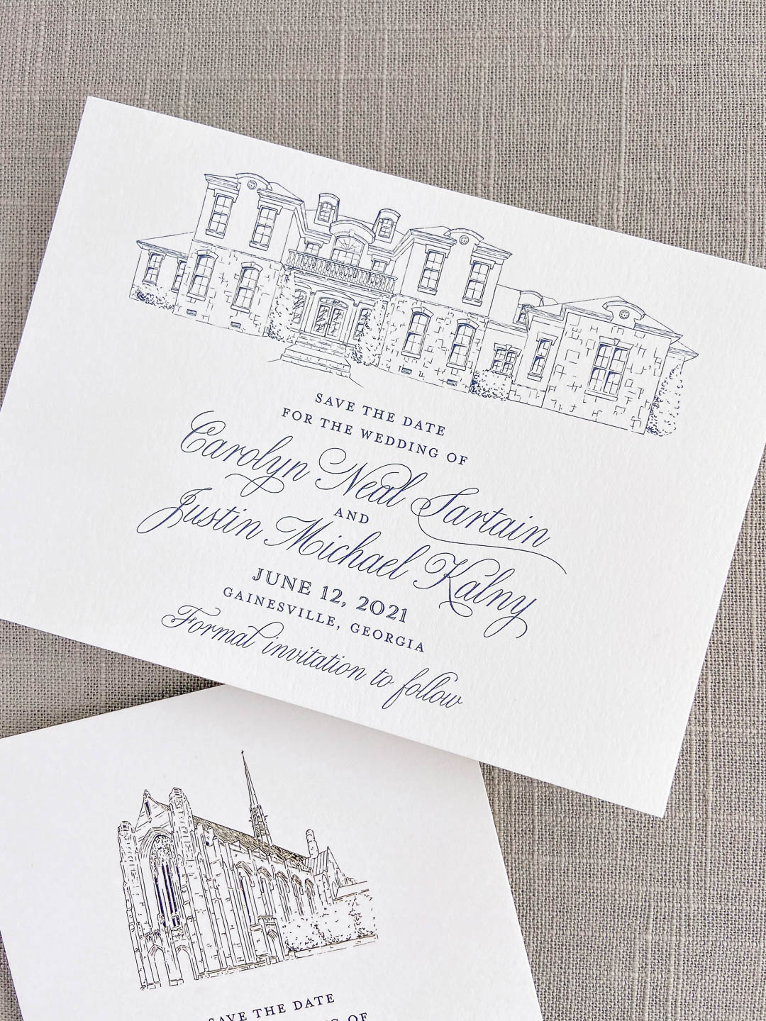 Save the date in navy ink on ivory paper with custom venue illustration. Private home venue illustration. Private estate wedding. Landscape orientation design.