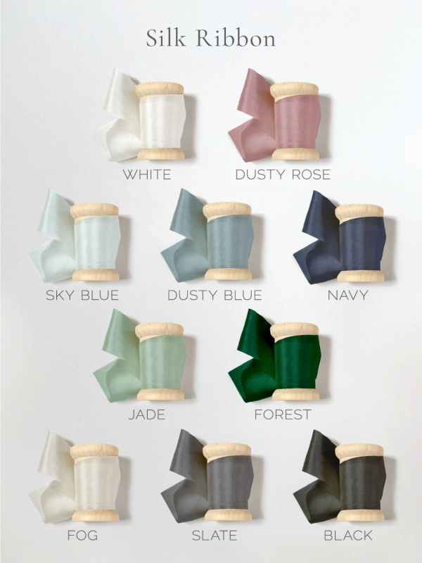 Silk ribbon colors - white, dusty rose, sky blue, dusty blue, navy, jade, forest, fog, slate, and black.