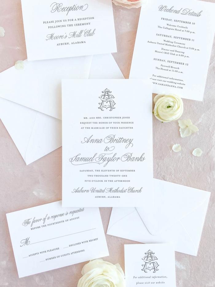Double monogram wedding invitation. Custom interlocking monogram. Includes invitation, RSVP card, reception card, detailed itinerary, and website card with monogram.