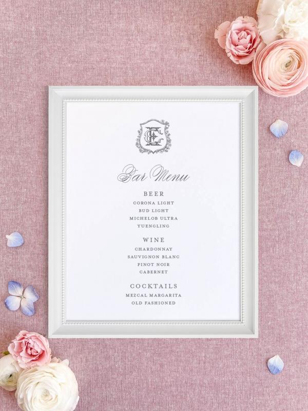 Wedding bar menu with floral crest and vintage monogram. Beer, wine, signature cocktails menu.