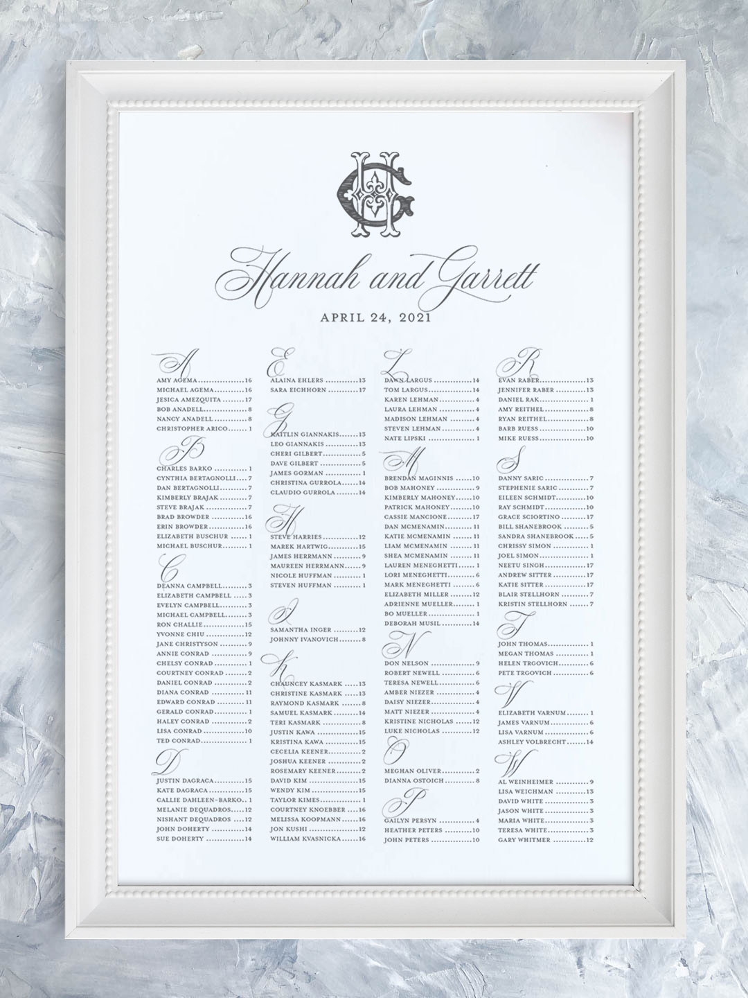 Wedding seating chart with traditional script font and vintage monogram organized alphabetically.