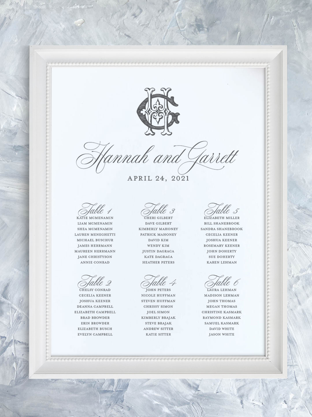 Wedding seating chart with traditional script font and vintage monogram organized by table.