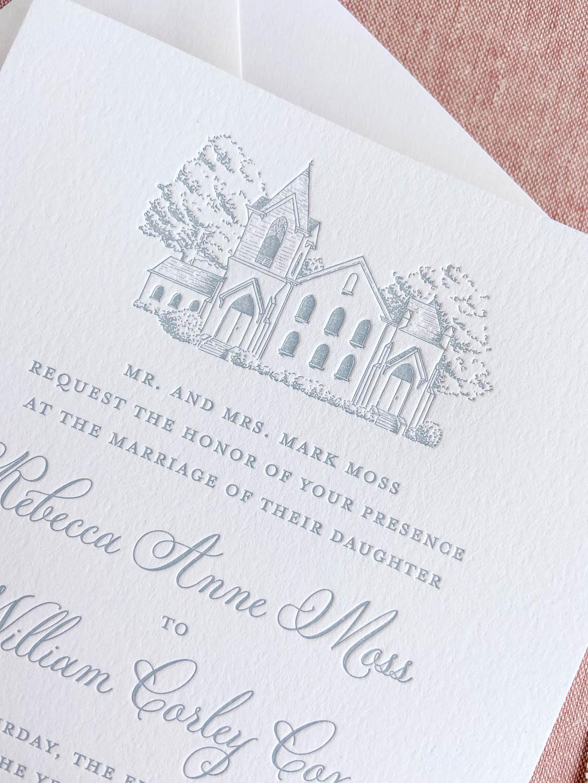 Dusty blue letterpress wedding invitations with custom venue illustration on white cotton paper.