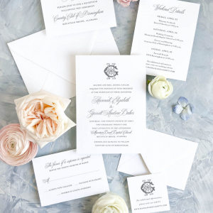 Wedding invitation suite with traditional script font and vintage interlocking monogram. Suite includes invitation, RSVP response card, website card with monogram, weekend details itinerary, and reception card.