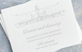 Cloud light blue letterpress wedding invitation detail card. Reception card featuring letterpress venue illustration. Shoreacres in Lake Bluff, Illinois wedding reception.